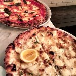 margherita and clam pizza