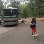 Campsite and my Grandson and Odie