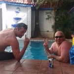 Bob And I Cooling off after a hot day at  the beach. Pool Is always a perfect temperature.