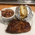 Supper special:  Sirloin Steak with brown beans and local baked potatoes