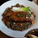 Caille farcie, lentilles au jus de foie gras