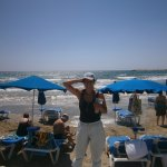 """The beach at Lambros Restaurant """"we had waves that day"""""""