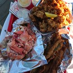 Lobster Roll, Fried Clams and Zucchini spears
