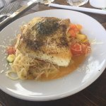 Halibut with heirloom tomatoes, zucchini and angle hair pasta