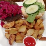 Soy marinated mushrooms, black bean patty, pickled red cabbage