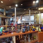 Glass blowing demonstrations with available gifts for purchase.