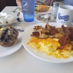 Two eggs, bacon, home fries, blueberry muffin & coffee