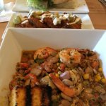 Seafood succotash and fried green tomatoes
