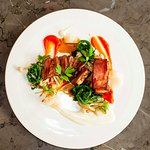Lamb Duo, from Wooly's Farm. Confited Belly, pan-seared marinated loin, heirloom carrots