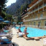 Hotel pool overlooking the lake.
