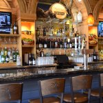 Cinderalla Blue granite bar with reclaimed wormy oak bar back