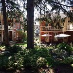 A view of the Brickhouse Inn & Welty House from the gardens.