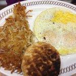 eggs, hashbrowns, very dark biscuit
