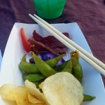 This is a little bit of everything from the appetizers, drink is the Blue Hawaiian.