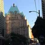 Evening sunlight on the Fairmont Hotel Vancouver from Burrard street.