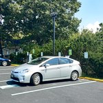 There is a solar car charging station adjacent to the hotel and restaurant.