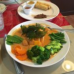 Orange Mango Salmon (some of the Thai Sampler in the middle plate)