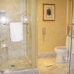 Marble Shower and Toilet Area in Deluxe Waterfall Room's Bathroom - Four Seasons Westlake