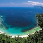 An aerial view of pristine Police Beach on Gaya Island, 45 minutes away by boat
