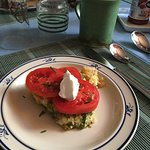 A wonderful quiche with fresh tomatoes and sour cream with a cup of Chris's wonderful coffee.