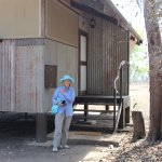 Mum outside her Cabin, it is made of mesh and iron, very Australian!