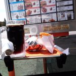 Tall COLD frosty mug of A&W Root Beer and delicious food!!