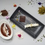 Dessert platter set - Exotic, Idea de cafe, Hazelnut ice cream with soft chocolate