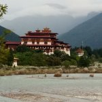 view of Dzong at confluence of rivers