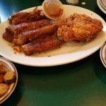 Ribs and Chicken with sides of Fried Okra and Greens
