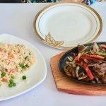 Mongolian Lamb, Fried rice beautiful plate