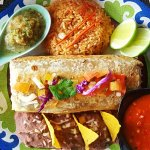 colorful and tasty burrito plate with beans and rice