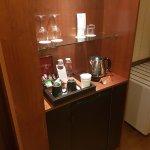 mini bar, coffee maker, kettle