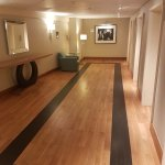 Hotel corridor and elevators