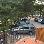 """Our view over the """"garden"""". It was above the bar and overlooking the parking lot."""