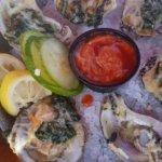 Baked Oysters Rockefeller (excellent)
