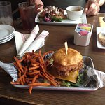 Fried green tomato burger with sweet potato fries
