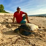 With a medium size sea turtle.  When you go for long walks on the beach, you might get lucky