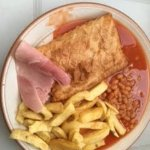 Lloyds Fish and Chip Shop - my take-away chips at home with a chicken pie, gammon and baked bean