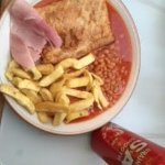 Lloyds Fish and Chip Shop - my take-away chips at home with chicken pie, gammon, baked beans & b