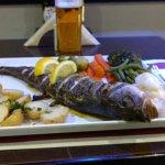 Fresh Sea Bass & a pint of Sagres. mmmmmm