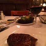 steak, wine, and brussels