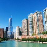 A view down the Chicago River along the River Walk