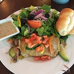 Veggie crepe with salad and brioche