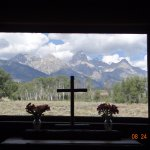 View of Teton Range from altar window