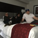 My lovely sister Robin and family on the huge comfortable bed
