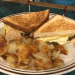 Scrapple, egg & cheese sandwich