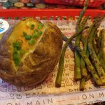 Baked Potato, Grilled Asparagus and Choo Choo Fish Sandwich