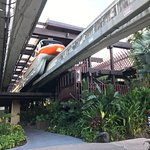 Monorail station can be entered from inside the resort lobby's second floor. The grounds of the