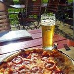 My Salami Pizza with Radler, half lemonade, half beer