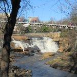 falls park down stream with liberty bridge